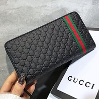 GUCCI New fashion stripe more letter print leather wallet purse Black