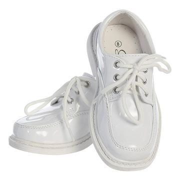 White Patent Finish Oxford Lace Tie Dress Shoes (Boys 8 toddler - 6 youth)