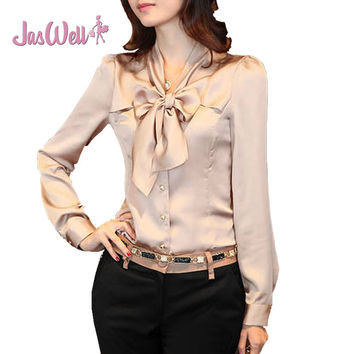 JasWell Spring Autumn Chiffon Blouses Korea Women's Long Sleeve Bowknot Vintage Shirts Ladies Bow Tie Office Lady Blouse Tops
