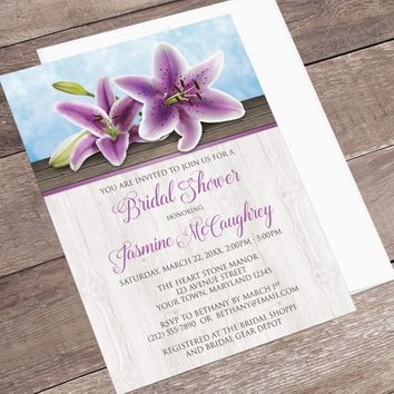 Purple Lily Bridal Shower Invitations - Pretty Floral and Rustic Wood design with Blue - Rustic Bridal Shower - Printed Lily Invitations
