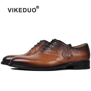Handmade Designer vintage Men's oxford shoes Genuine leather Wedding Party formal casual Male dress shoes