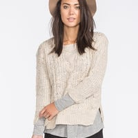 Poof Excellence Marled Cable Knit Sweater Tan  In Sizes