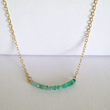 """Ombre Emerald Beaded """"From Glory To Glory"""" Gold Necklace"""