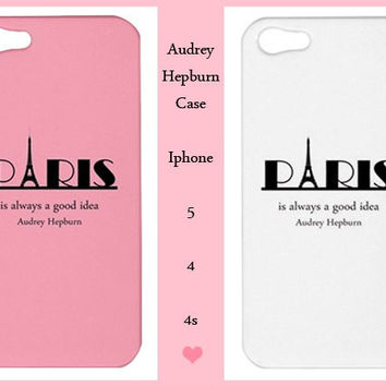 Iphone 5/4/4s Case-Paris Iphone 5 -Audrey Hepburn Iphone 5 -Iphone 5 case,Iphone 4/4s case,Iphone 5 cover,Iphone 4/4s cover