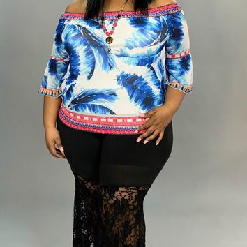 """PQ-T """"Flying Tomato"""" Feather Print Top with 3/4 Sleeves"""