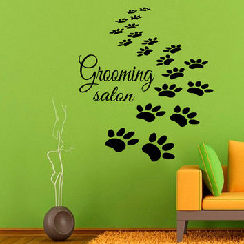 Paw Prints Wall Decals Grooming Salon Dog Puppy Pets Pet Shop Home Interior Design Vinyl Decal Sticker Art Mural Kids Room Wall Decor KG688