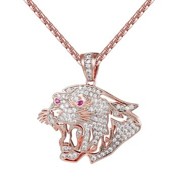 14k Rose Gold Finish Cut Out Lion Ruby Eyes Pendant Chain