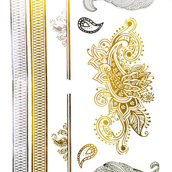 Indian Princess Metallic Henna Temporary Tattoo Gold Silver Festival Beach Holiday Gift Present Flash Tattoo Birthday Anniversary