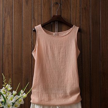 Cotton Linen Tank Tops Women Summer Clothing 2018 New Solid Casual Sleeveless Shirts Female Vintage Vest Top Soft Confort Blusas