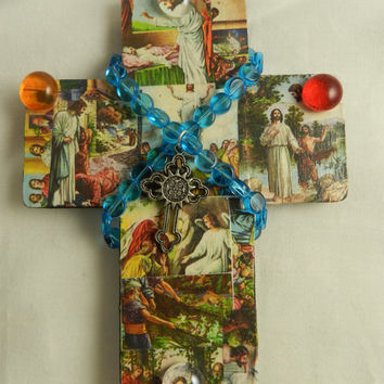 Religious Childrens Wooden Wall Cross Bible Story Embellished Handmade