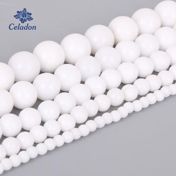 Natural White Jadee Stone Beads For Jewelry Making DIY Bracelet Necklace 4/6/8/10/12mm Strand 15''(38cm)