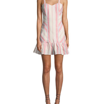 Parker Yuna Sweetheart Striped Linen Mini Dress
