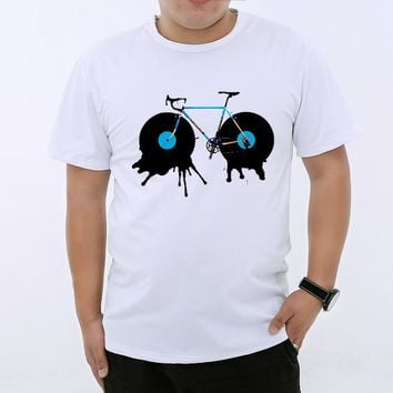 YGYKE 2017 New Arrival Vinyl Records Bicycle Vintage Printed Cool Men's Casual T-shirt Male Music Tops Tee men T shirt  YG0164