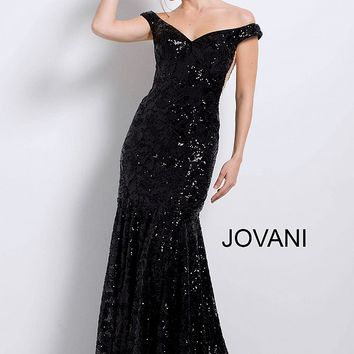 Black long fitted sequin embellished off the shoulder mermaid dress.