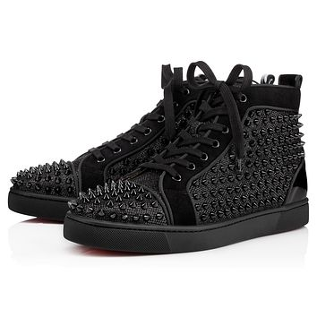 Christian Louboutin Women Men Trending  Black Leather Side Zip Lace-up Ankle Boots Shoes High Boots