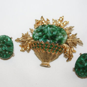 Vintage Faux Jade Brooch Set, Green Basket Brooch 1950s Jewelry