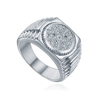 Stainless Steel Cubic Zirconia Watch Band Ring