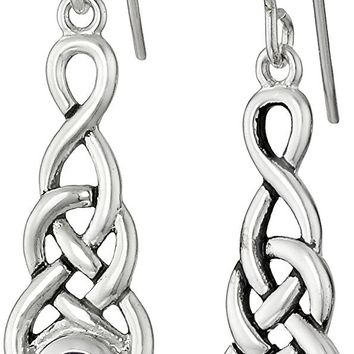 Sterling Silver Celtic Knot Linear Drop Earrings
