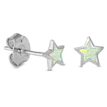.925 Sterling Silver Star White Fire Opal Ladies and Kids Stud Earrings
