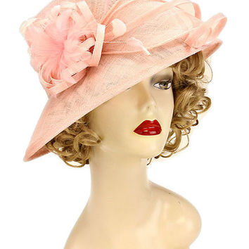 Kentucky Derby Church Wedding Tea Party Elegant Feather Accented Sinamay Hat - Peach