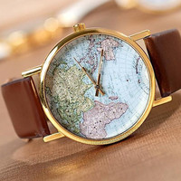 world map Watch, Fashion Wrist Watch Artificial Leather Watch Retro Style Women's Watch  Men wristwatch PB062