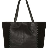 Topshop 'Woody' Whipstitch Detail Leather Shopper Bag | Nordstrom