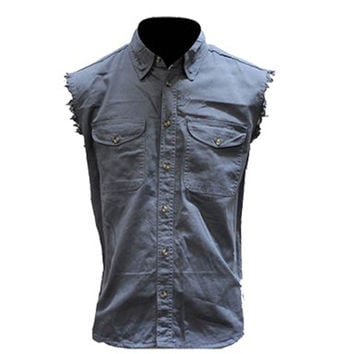 Mens Motorcycle Biker Shirt Ash Blue Cut Off Sleeveless Cotton Denim Button up