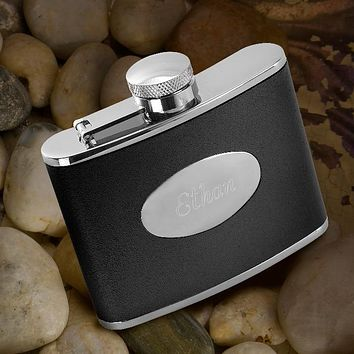 Personalized 4 oz. Leather Flask Free Engraving