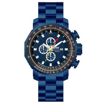 HMEWatch Men's ATC Aviator Chronograph/Dual-Time Pilot Watch, Blue ION Stainless Steel Case & Band