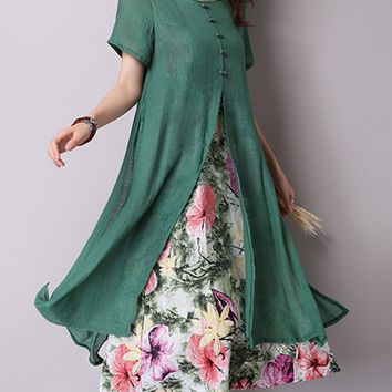 Casual Round Neck Cutout Cascading Ruffles Floral Blend Maxi Dress