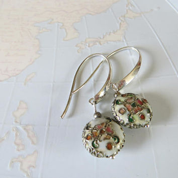 Cloisonne enamel silver long earrings with pink rose and green leaves on  Ivory white-unique handmade earrings Hongarian beads- madebymirjam
