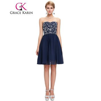 Grace Karin Short Prom Dress Navy Blue Green Black Strapless Sweetheart Evening Gowns Dance Sexy Party Sequin Prom Dress 2017