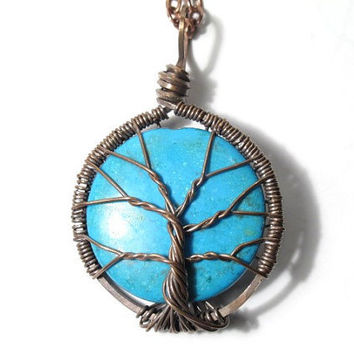 The Tree of Life Wire Sculpture Encased Turquoise by sageANDindie