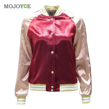 Shinny Casual Satin Women Bomber Jacket Long Sleeve Baseball Coat Outerwear Gold Burgundy Patchwork Jacket Coat SN9