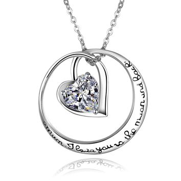 """925 Sterling Silver """"Mum, I Love You to the Moon and Back"""" Love Heart Cubic Zirconia Pendant Necklace"""