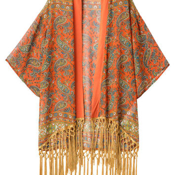 Orange Paisley Pattern Kimono Coat With Tassel