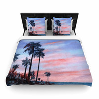 "Rosie Brown ""Florida Sunset"" Pink Blue Woven Duvet Cover"