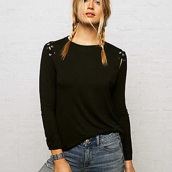 Don't Ask Why Lace-Up Shoulder Shirt, Black