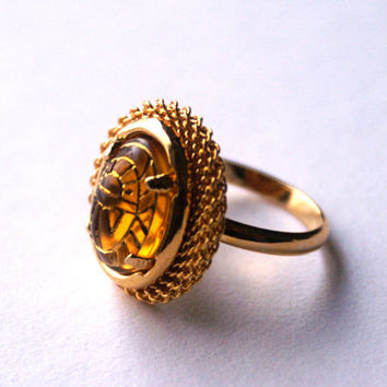 Adjustable Ring with Vintage Glass Cabochon Topaz Color with Egyptian Scarab Design
