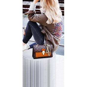 LV fashion lady Dionysus printed patchwork color shoulder bag shopping bag LV Coffee print+Brown