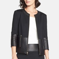 Women's St. John Collection Quilted Leather Trim Milano Knit Jacket
