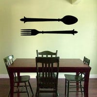 Fork and Spoon BIG Silverware Vinyl Wall Decal Home Decor Wall Lettering Kitchen
