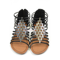 Crixus Valley Black Strappy Sandals