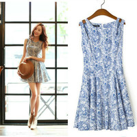 Blue And White Porcelain Print Cutout Shoulder Skater Dress