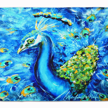 Peacock Straight Up in Blue Machine Washable Memory Foam Mat MW1166RUG