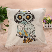 Maple Leaf/Night Owl Pattern Cushion Cover Cotton Linen Throw Pillow Cushion Cover for Home Sofa Car 45*45cm E#CH