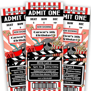 Kids Movie Night Invitation - Movie Birthday Admission Ticket Invitations - Boy Party Hollywood - Marquee Invite - Chalk - Clapboard