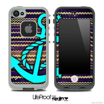 Vintage Dark Colored Chevron and Turquoise Anchor Skin for the iPhone 5 or 4/4s LifeProof Case
