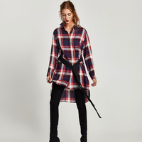CHECKED SHIRT WITH BELT DETAILS