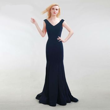 Elegant Evening Dress Mermaid Blue Long Prom Party Gown